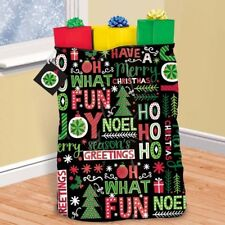 Joyful Holiday Giant Christmas Gift Bag, Tag, Tie 36 x 44 Plastic Sack
