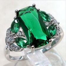 Fashion Large Green Emerald Women Wedding Band Ring 925 Silver Jewelry Size 6-10