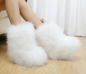 Womens Warm Feather Fur Pull On Furry Ankle Boots Winter Flats Casual Snow Shoes