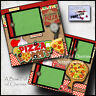 PIZZA LOVERS ~ 2 premade scrapbook pages pizza party paper piecing CHERRY #0053