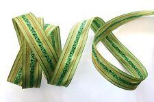 5 metres ruban  fantaisie  ARABESQUE tons de vert et doré ref.  1844