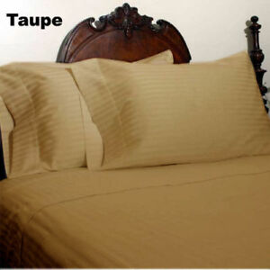 Taupe Striped Bed Skirt Select Drop Length All US Size 1000 TC Egyptian Cotton