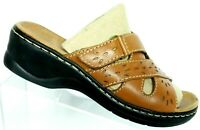 Clarks Bendables Women's Brown Leather Comfort Slip On Mule Sandals Size 7 M