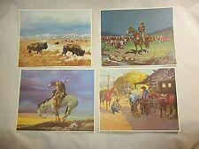 "(4) Vtg. Western/Cowboy Landscape Litho. Art Prints 10"" x 8.5"" Unframed"