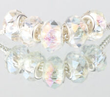 white AB 5pcs MURANO Crystal bead LAMPWORK fit European Charm Bracelet #A520