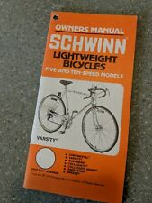 Schwinn Continental Suburban Collegiate Breez Bicycle Owners Manual Vintage 70's
