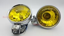 2 X ROUND FRONT DOUBLE HALOGEN SPOT LIGHTS FOR BUS TRUCK VAN SUV 12V YELLOW