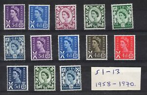 Scotland 1958-1970. S1-13. Set x 13 pre-decimal Wildings. Superb unmounted mint.