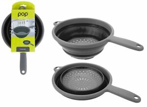 Summit Pop Collapsible Colander With Handle Space Saving Black/Grey