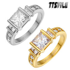 TTstyle S.Steel Square Princess Cut CZ Engagement Wedding Ring Choose Color NEW