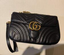 GUCCI Small Marmont Black Matelasse Shoulder Bag Woman Double