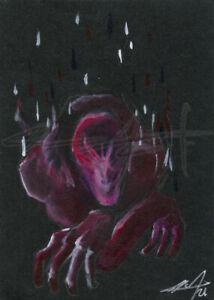 NEW! ORIGINAL WarrenS Art Card ACEO Masked Alien Man Creature Painting Artwork