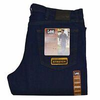 Lee Jeans Regular Fit Mens Denim Straight Leg Comfort Stretch  Rinsed Indigo New