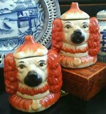 Stunning Rare English Staffordshire Style Spaniel Dog Toby Chinoiserie Jar Pair