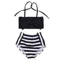 enfants filles Tankini maillot de bain bikini à rayures Vêtements plage