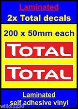 Laminated 2x Total red oil rally race bike sticker decals car van vw truck mini