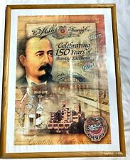 """Vintage MILLER BREWING Beer Bar Sign """"Celebrating 150 Years of Brewing Excellenc"""