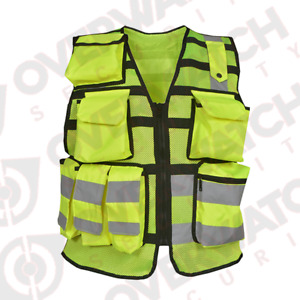 """Overwatch TB3 Yellow Reflective Load Bearing Vest - Including """"Security"""" Patches"""