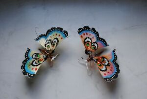 Two rare old german christmas spunglass ornaments,Butterfly