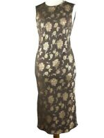 Wallis Petite Metalic Gold Smart Evening Party Occasion Maxi Dress Size 12