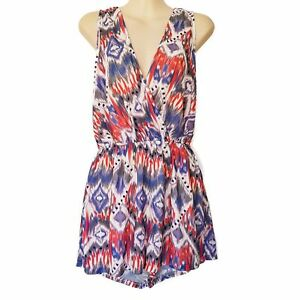 SHAREEN Sliver Playsuit Grey White Multi-Coloured Aztec Sleeveless Ladies Romper