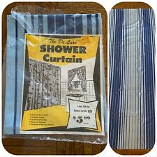 Nos The De Luxe Shower Curtain Blue Striped Vinyl Mod Mcm Deadstock Kmart Vtg
