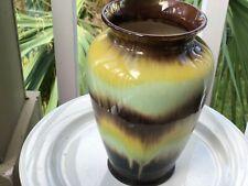 "Vntg, W. Germany 8.25"" Art Pottery Green,Blue& Brown Pastels Scheurich 535-20."