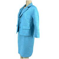 Talbots Size 8 Petite 2pc Dress Blazer Jacket Suit Blue Special Occasion S17