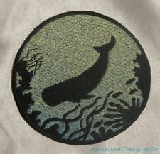 Embroidered Sperm Whale Ocean Sea Silhouette Ombre Circle Patch Iron On Sew USA