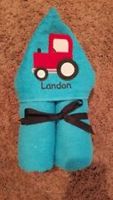 Personalized Red Tractor Hooded Towel