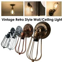 Vintage Retro Industrial Loft Rustic Cage Wall Sconce Ceiling Lights Porch Lamp