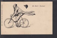 Judaica - Caricature Polish Jewish Cyclist Early Postcard - Schiller 49433