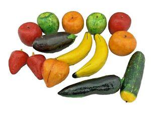 14 Pieces of Paper Mache Fruit - Apples, Oranges, Bananas, Strawberries & More