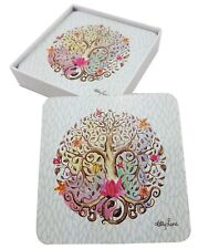 Drink Coasters Tree of Life Vibrant Colours Coaster Cork Back Dining *Set of 6*