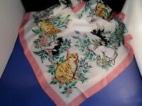 vintage ladies head kerchief scarf kittens cat flowers butterfly 30 inch