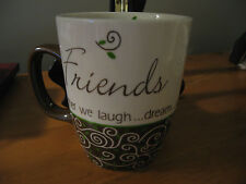 NEW CARSON Home Accents FRIENDS MUG 12 OZ coffee cup scroll design