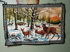 "57""x38"" Deer Family Wall Hanging Tapestry. Large! Felt Like Feel. buck fawn nice"