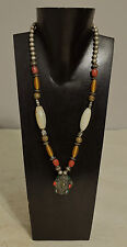 Necklace Indian African Agate Silver Beads Red Green Agate Buri Nut Necklace