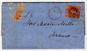 CHILE 1864 Concepcion to Arauco 5c Estanco CANCELLED in scarce blue ink