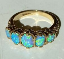 LARGE BEAUTIFUL OLD VINTAGE  9CT GOLD NATURAL OPAL RING