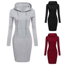 Women Casual Hoodie Long Sleeve Sweater Pocket Hooded Bodycon Tunic Dress Top