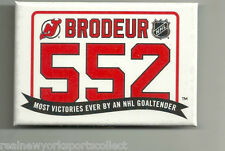 MARTIN BRODEUR NEW JERSEY DEVILS 552 ALL-TIME WINS LEADER VIP BADGE BUTTON