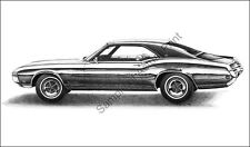 Beautiful 1969 (69) Buick Riviera signed 11 x 17 drawing/picture/print