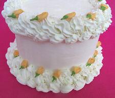 64 Edible Mini Peach Orange  Rosebuds Sugar Icing Cake & Cupcake Topper  Flowers