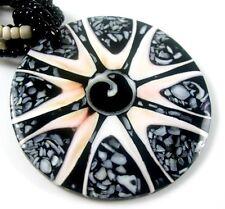 CONE SHELL, SHIVA EYE & SEA STONES  necklace ; AA082