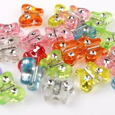 250pcs ON SALE Assorted Color Rhinstone Butterfly Charms Plastic Spacer Beads J