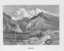 Andermatt Urserental Kanton Uri HOLZSTICH von 1883 Schweiz Suisse