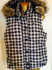 Women's Aeropostale Blue Plaid Puffer Vest Faux Fur Parka Hood Jacket Size L Ski