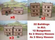 20mm Town 22 x 20mm Buildings Scenery Laser cut 2mm MDF Flat roof Houses Flats