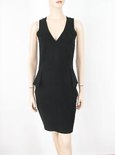 French Connection Peplum Detail Stretch V Neck Dress Black US-6 UK-10 $168 8989